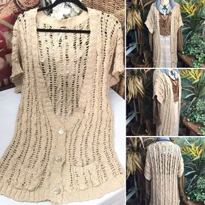 """Free People"" S/S 100% cotton knitted cardigan- M"